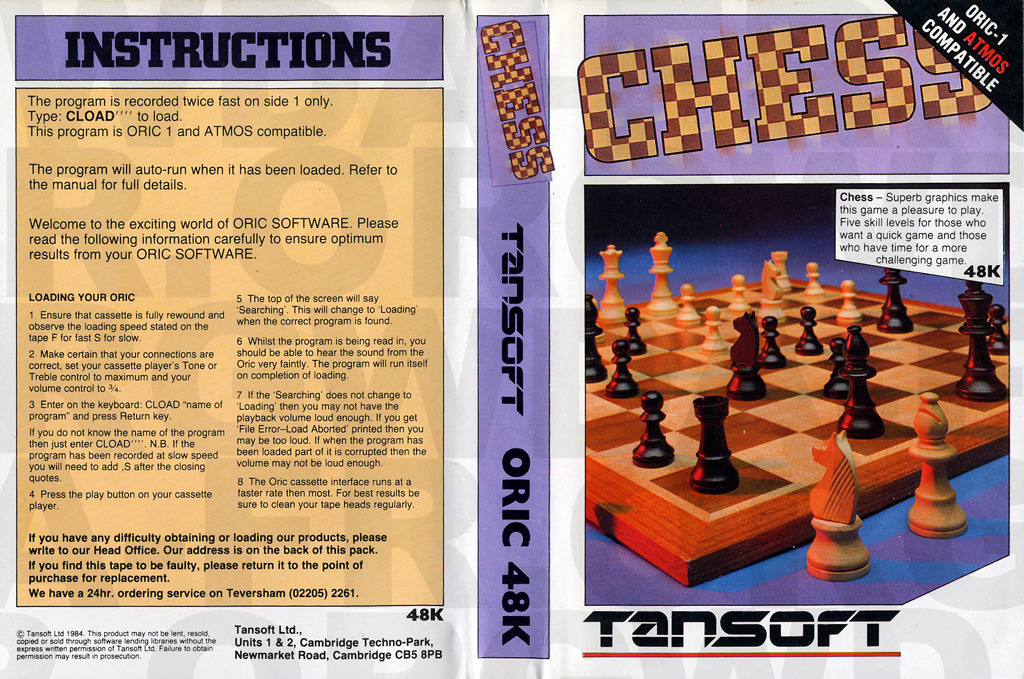 CHESS II (Jacquette) sur Oric 1 / Atmos