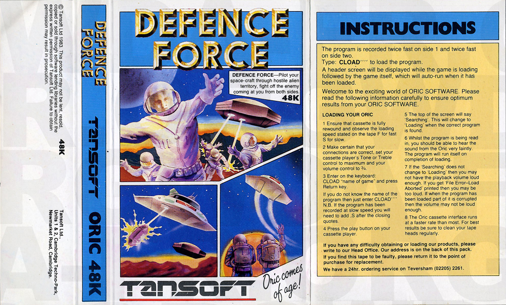 Defence Force sur Oric 1 %2F Atmos
